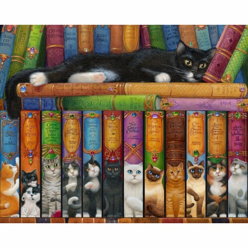 Vermont Christmas  Jigsaw Puzzle Cat Bookshelf - 1000 Pieces Perspective: front
