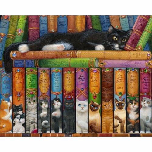 Vermont Christmas  Jigsaw Puzzle Cat Bookshelf - 1000 Pieces Perspective: front