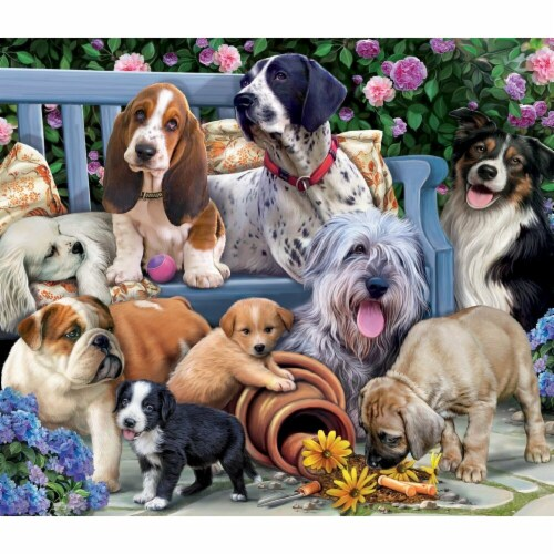 Vermont Christmas  Jigsaw Puzzle Dogs On A Bench - 1000 Pieces Perspective: front