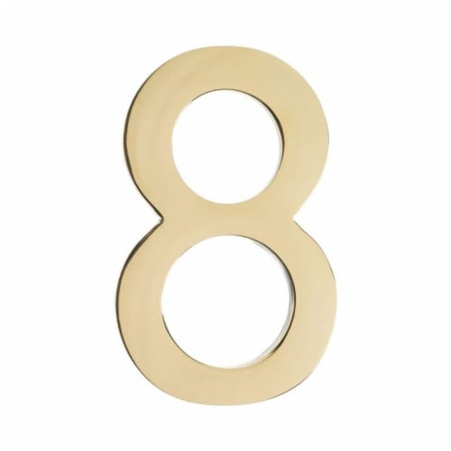 Floating House Number 8, Polished Brass - 4 in. Perspective: front