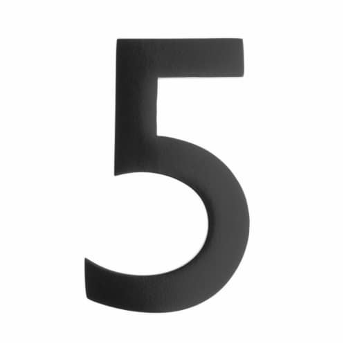 Floating House Number 5, Black - 5 in. Perspective: front