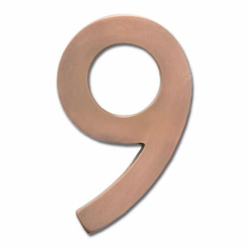 Solid Cast Brass 5 in. Antique Copper Floating House Number 9 Perspective: front