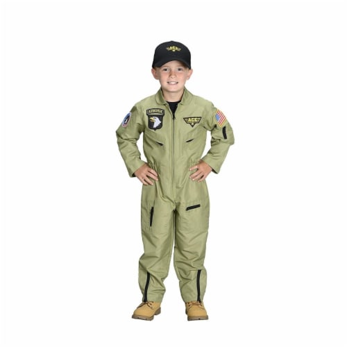 Junior Fighter Pilot Suit with Embroidered Cap, Size 2-3 Perspective: front