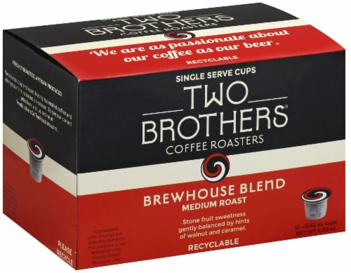 Two Brothers Brewhouse Blend Medium Roast Coffee Single Pods Perspective: front