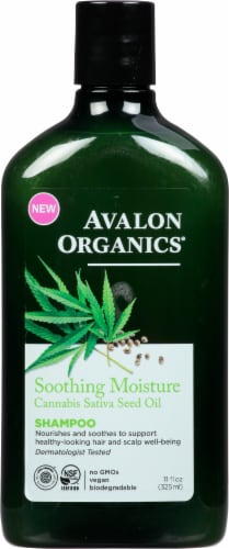 Avalon Organics Soothing Moisture Cannabis Sativa Seed Oil Shampoo Perspective: front