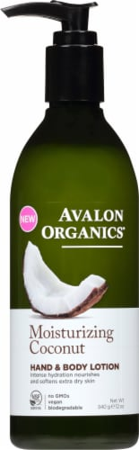 Avalon Organics Moisturizing Coconut Hand & Body Lotion Perspective: front