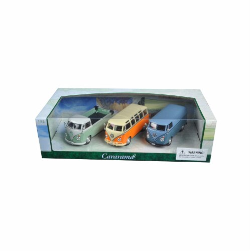 Cararama 35308 1 by 43 Diecast Volkswagen Buses 3pc Gift Set Model Cars Perspective: front