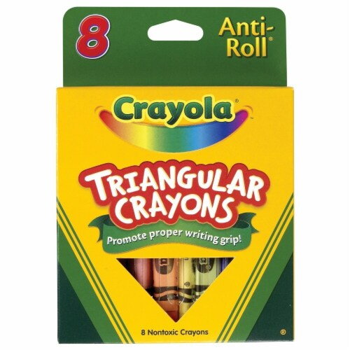 Crayola Anti-Roll Non-Toxic Triangular Crayon, Assorted Color, Pack of 8 Perspective: front