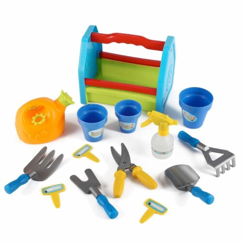 Azimport PS391 Rainbow Gardening 14 Piece Box Tools Toy Set for Kids Perspective: front