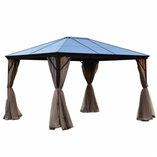 Aleko GZBHR01-UNB 10 x 12 ft. Aluminum Hardtop Gazebo with Removable Mesh Walls - Brown Perspective: front