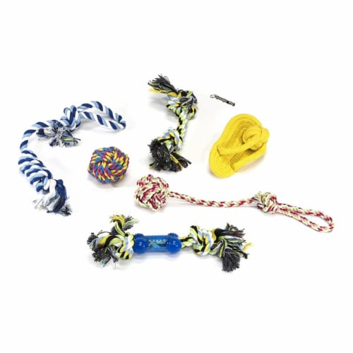 Aleko PTRS7-UNB Dog Rope Toy with Metal Whistle Chew Sturdy Durable Play Exercise - Multi Col Perspective: front
