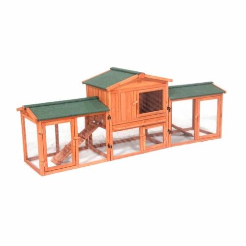 Aleko DXR054-UNB Fir Wood Chicken Coop - Rabbit Hutch with Chicken Run - 89 x 24 x 34 in. Perspective: front