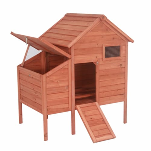 Aleko DXH002-UNB Raised Fir Wood Chicken Coop - Rabbit Hutch - 44 x 30 x 48 in. Perspective: front