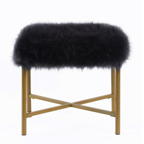 Square Faux Fur Upholstered Ottoman with Tubular Metal Legs and X Shape Base, Black and Gold Perspective: front