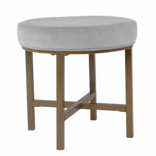 Round Shape Metal Framed Ottoman with Velvet Upholstered Seat, Gray and Brown Perspective: front