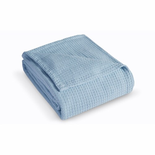 Elite Home 90 x 90 Inch Grand Hotel Cotton Throw Blanket, Full/Queen, Pearl Blue Perspective: front