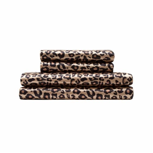 Elite Home Set of Soft Satin Weaved Polyester Bed Sheets, Queen, Leopard Print Perspective: front