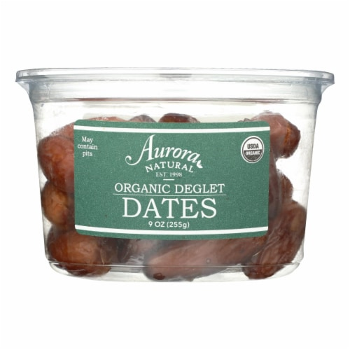 Aurora Natural Products - Organic Deglet Dates - Case of 12 - 9 oz. Perspective: front