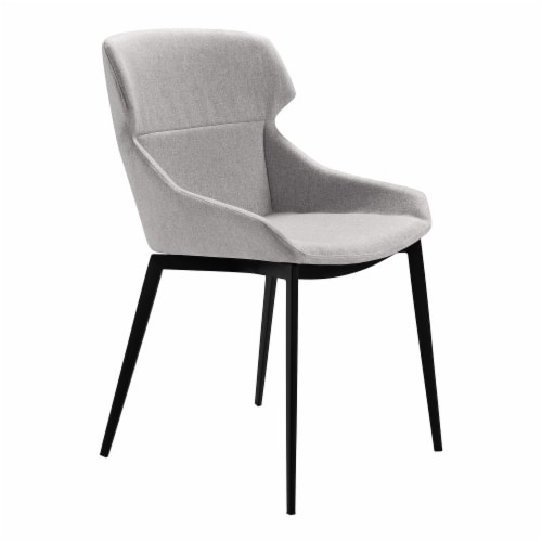 Kenna Dining Chair in Matte Black Finish and Gray Fabric - Set of 2 Perspective: front