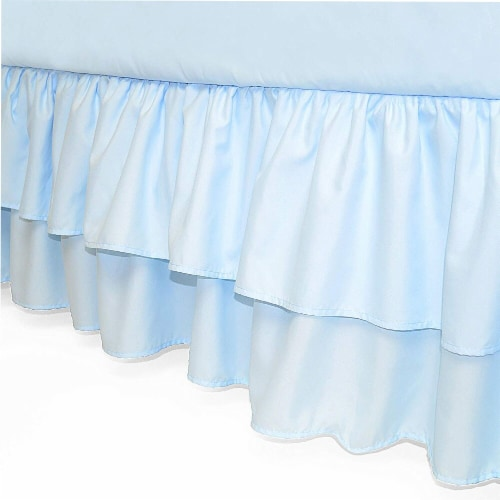 American Baby Company Double Layer Ruffled Crib Skirt - Blue Perspective: front
