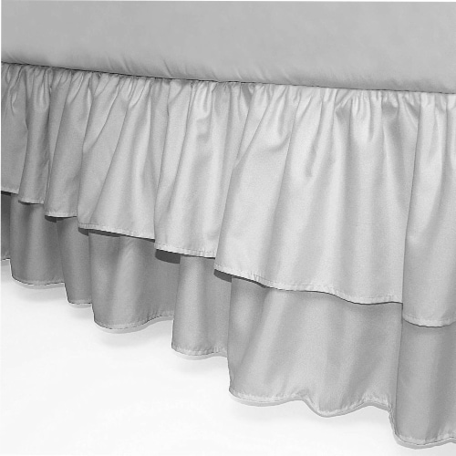 American Baby Company Double Layer Ruffled Crib Skirt - Gray Perspective: front