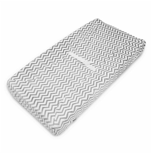 American Baby Company Heavenly Soft Chenille Fitted Contoured Changing Pad Cover - Gray Zigzag Perspective: front