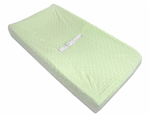American Baby Heavenly Soft Minky Dot Changing Table Cover - Green Perspective: front