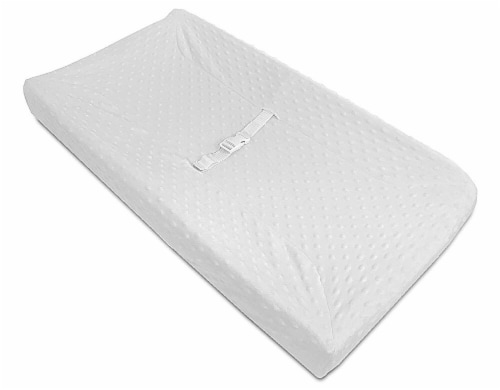 American Baby Company Heavenly Soft Minky Dot Fitted Contoured Changing Pad Cover - White Puff Perspective: front