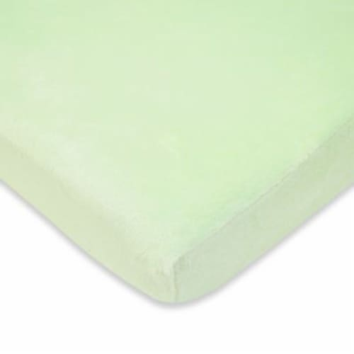 American Baby  Heavenly Soft Chenille Crib Sheet - Celery Perspective: front