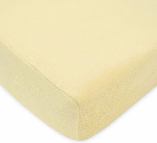 American Baby  Heavenly Soft Chenille Crib Sheet Maize Perspective: front