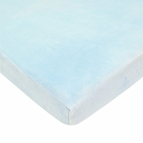 American Baby Heavenly Soft Chenille Mini Crib Sheet - Blue Perspective: front