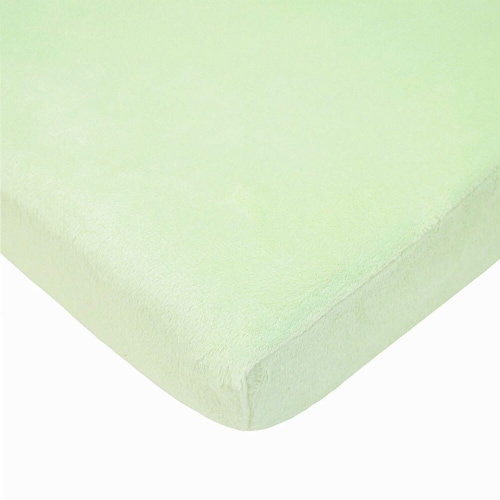 American Baby Heavenly Soft Chenille Mini Crib Sheet - Celery Perspective: front