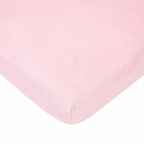 American Baby Heavenly Soft Chenille Mini Crib Sheet - Pink Perspective: front