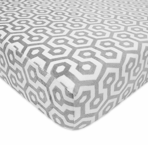 American Baby  Heavenly Soft Chenille Crib Sheet  Grey Honeycomb Perspective: front