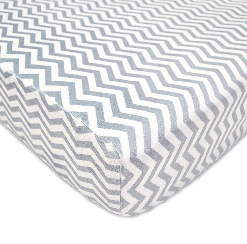 American Baby Heavenly Soft Chenille Crib Sheet - Gray Zigzag Perspective: front