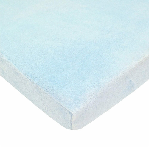 American Baby Heavenly Soft Chenille Playard Sheet - Blue Perspective: front