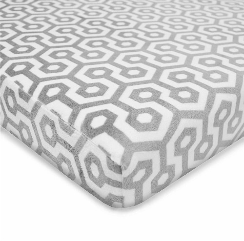 American Baby Heavenly Soft Chenille Playard Sheet - Gray Honeycomb Perspective: front