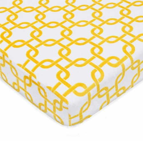 American Baby Heavenly Soft Chenille Playard Sheet - Yellow/White Perspective: front