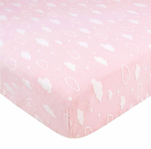 American Baby Heavenly Soft Chenille Crib Sheet - Pink 3D Cloud Perspective: front