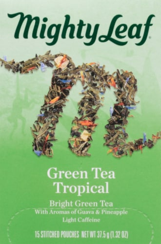 Mighty Leaf Green Tea Tropical Stitched Pouches Perspective: front