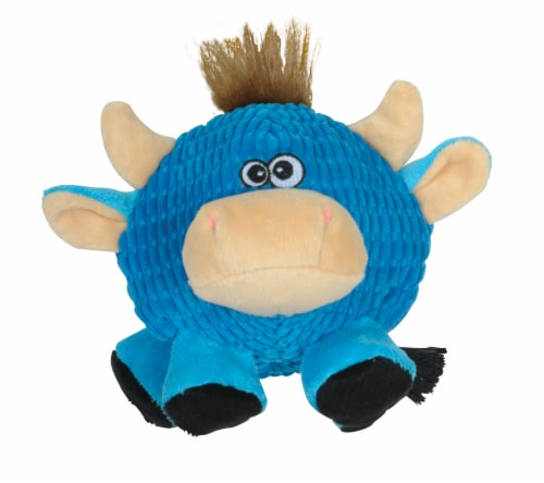 SmartPetLove Tender-Tuff Round Blue Cow Dog Toy Perspective: front