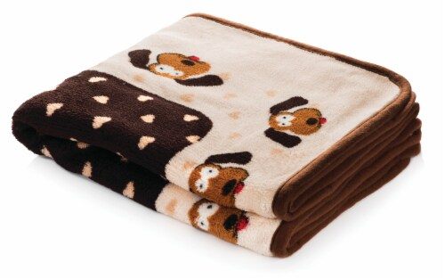 SmartPetLove Cream & Brown Heart Snuggle Puppy Snuggle Blanket Perspective: front