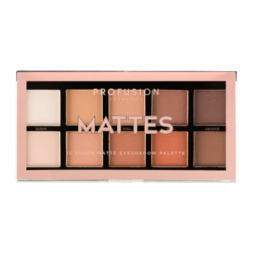 Profusion Cosmetics Mattes 10 Shade Matte Eyeshadow Palette Perspective: front
