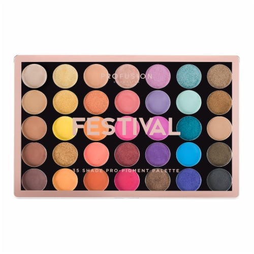 Profusion Cosmetics Festival 35 Shade Pro-Pigment Eyeshadow Palette Perspective: front