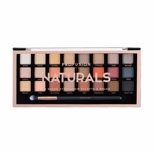 Profusion Cosmetics Naturals 24 Shade Eyeshadow Palette & Brush Perspective: front