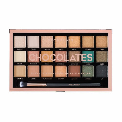 Profusion Cosmetics Chocolates 21 Shade Eyeshadow Palette & Brush Perspective: front