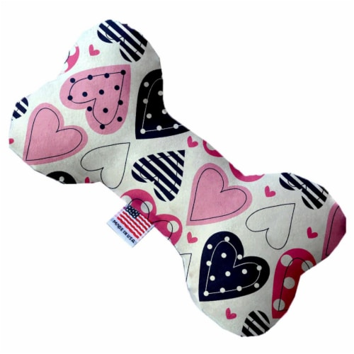 Mirage Pet 1104-SFTYBN10 Mixed Hearts 10 in. Stuffing Free Bone Dog Toy Perspective: front