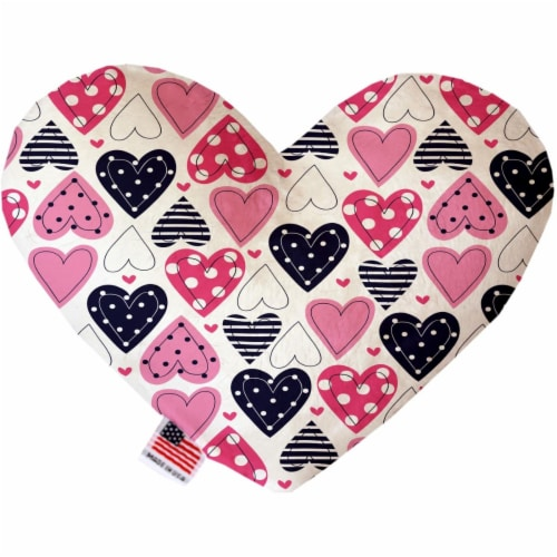 Mirage Pet 1104-SFTYHT6 Mixed Hearts 6 in. Stuffing Free Heart Dog Toy Perspective: front