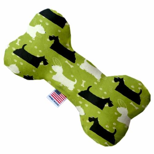 Mirage Pet 1120-SFTYBN8 Scottie & Westie 8 in. Stuffing Free Bone Dog Toy Perspective: front
