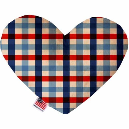 Mirage Pet 1136-SFTYHT8 Patriotic Plaid 8 in. Stuffing Free Heart Dog Toy Perspective: front